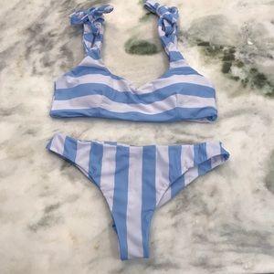 Other - Blue & white stripe tie shoulder bikini set L